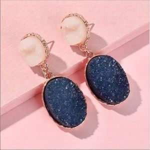 Anthro Druzy Quartz Earrings in Navy